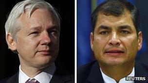 Split screen image of WikiLeaks founder Julian Assange and Ecuadorean President Rafael Correa