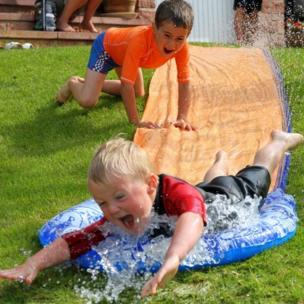 Boys on a slide