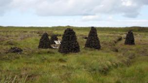 Peat stacks