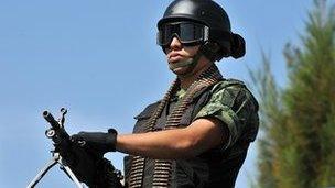 Mexican soldier on patrol in Morelos - file