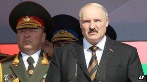 Belarus President Alexander Lukashenko at parade in Minsk, 3 Jul 12