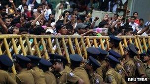 Students shout slogans at the Sri Jayawardenepura University in Colombo, 5 January 2012