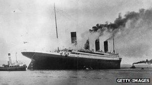 File photo: The Titanic, which sank in 1912, is seen here on trials in Belfast Lough