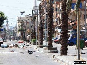 Empty street in Tripoli, Lebanon (22 August 2012)