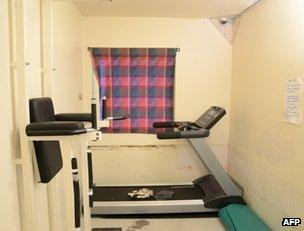A cell at Ila prison equipped as a gym (undated photo released by prison)