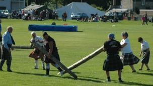 Broken caber at a Highland Games event
