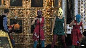 "Pussy Riot perform their ""punk prayer"" on 21 February in the Christ the Saviour Cathedral, Moscow"