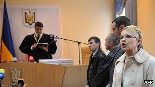 Yulia Tymoshenko in court, 11 Oct 11