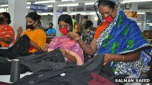 Workers at Mr Ahsan's factory in Bangladesh