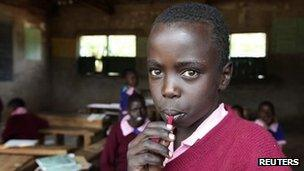 A child at a school in Kenya (June 2012)