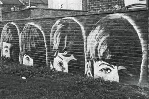 A mural of the band the Beatles