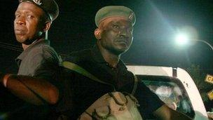 Nigerian police officers on patrol - Archive shot