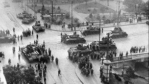 Soviet tanks in Budapest 1956