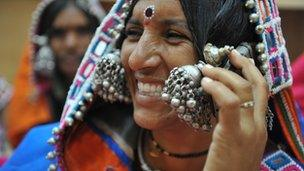 Indian woman using mobile