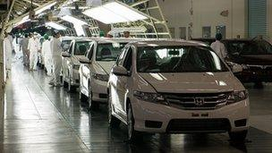 Assembly line at Honda factory