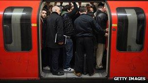 London Underground passengers squeeze in