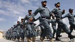 Afghan national police officers march during a graduation ceremony (file)
