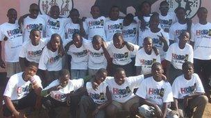 Some of the Zambian street boys who live at the Fountain of Hope centre