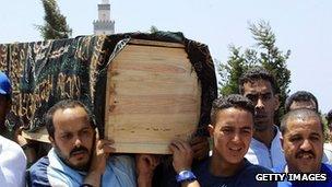 Coffin of 2003 Casablanca bombing victim