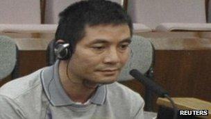 Naw Kham, a suspect involved in murders of 13 Chinese sailors on the Mekong River, on trial at a court in Kunming, 20 Sept 2012
