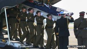 File photo: The coffin of a New Zealand soldier killed in Afghanistan on 23 August 2012