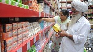Indian shoppers browse through products at the Bharti Wal-Mart Best Price wholesale store in Manawala, some 11kms from Amritsar, on September 19, 2012.