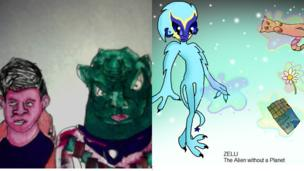 A picture of Tom Clarke and espartos alien by Darcie, 12, from Brighton and blue alien Zelli by Hannah, 12, from Merseyside.