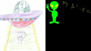 Alien drawing by Muhammad from Burnley and next to it a green alien by Sophie from Liverpool.