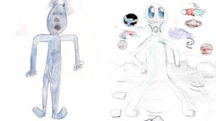 Here's a blue alien by 10-year-old Matilda from Lancashire and Cosmic the alien drawn by Cherry.