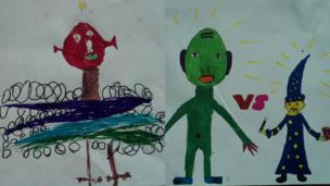 Seven-year-old Joseph has drawn this scary alien and next to it is an alien and wizard by 10-year-old Iris from Sheffield.