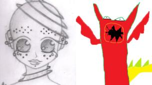 Alien head drawn by Izaya and a red monster created by Fifi