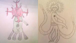 On the left is a red and green alien by Ciaran and on the right a long legged alien by Jacklina.
