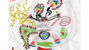 Multi-coloured alien drawing.