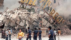 Earthquake damage in Mexico City in 1985