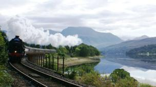The Jacobite steam train going along Loch Eil with Ben Nevis as its backdrop. Picture shot by Margaret Russell
