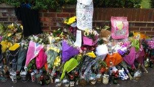 Shrine to Delaney Brown in Vincent Road, Luton