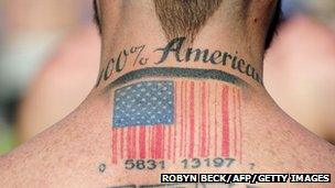 Man with a barcode tattoo