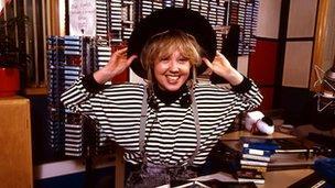 Liz Kershaw at Radio 1 in 1988