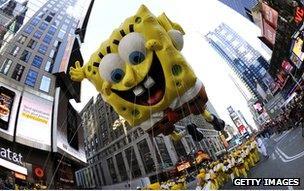 SpongeBob SquarePants balloon in a parade