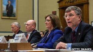 Lt Col Andrew Wood, Eric Nordstrom, Charlene R. Lamb, Ambassador Patrick Kennedy, testify on Capitol Hill on 10 October 2012 in Washington, DC