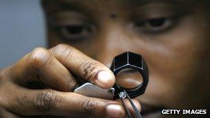 A diamond cutter in Gaborone, Botswana