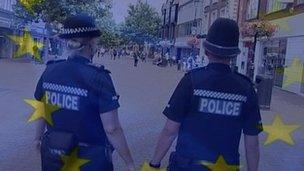 Police under an EU flag