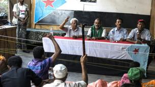 Southern Movement representatives address a crowd of supporters at an open air meeting in Aden's Crater district. Photo: Luke Somers
