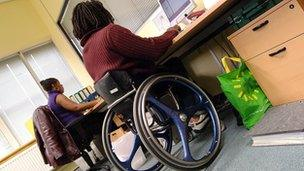 Disabled man at work