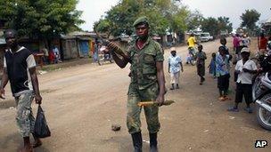 M23 rebel in North Kivu town of Rubare near Rutshuru. 5 Aug 2012