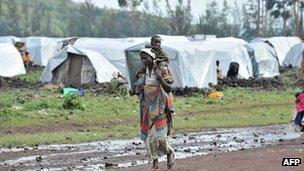 Displaced villagers at Kanyaruchinya camp near Goma