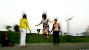 Women skipping