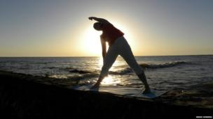 Exercising at the seaside