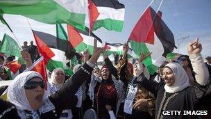 Women celebrate the release of Palestinian prisoners in October 2011