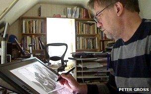 Peter Gross using Wacom monitor